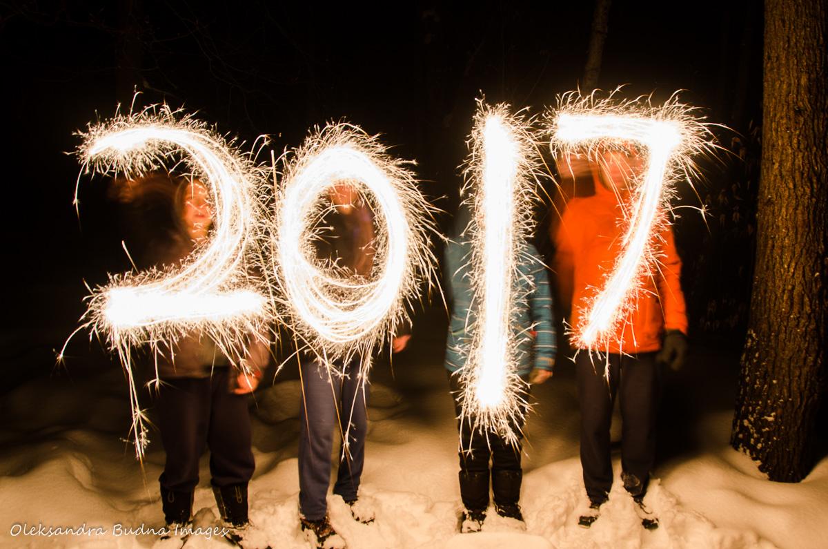 2017 written in sparklers