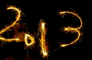 2013 written in sparklers
