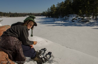 taking a break on the Cranberry Bog Trail in Killarney in the winter