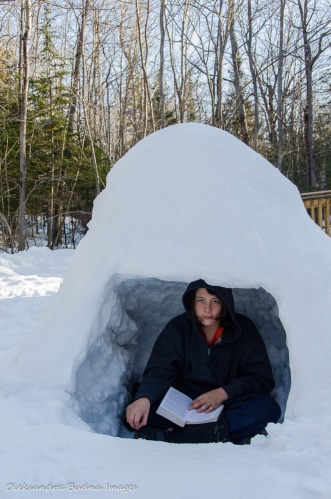 reading in an igloo