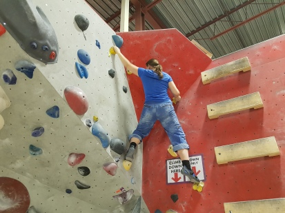 bouldering at Boulderz centre in Etobicoke
