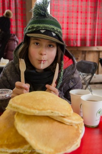 eating pancakes at Mountsber Conservation Area