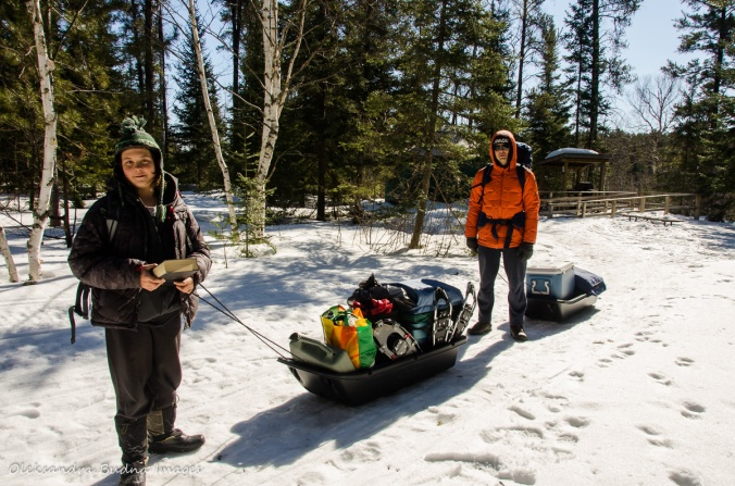 transporting gear at Windy Lake