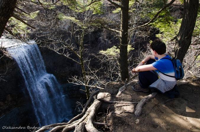 sitting near Felker's Falls