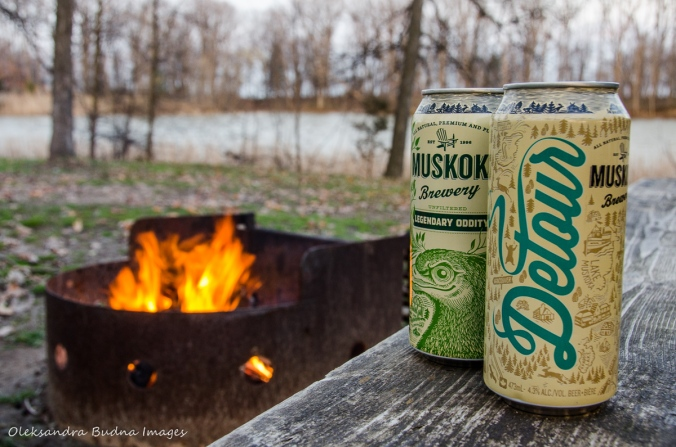 Muskoka Brewery beer and campfire