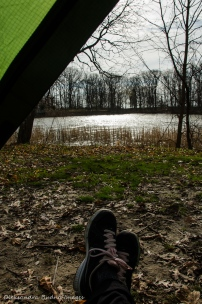 view from the tent at Wheatley Provincial Park