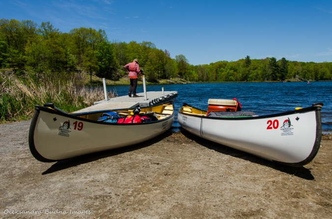 canoes at the boat launch on Big Salmon Lake
