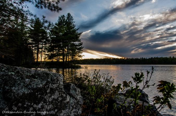 sunset on Big Salmon Lake in Frontenac