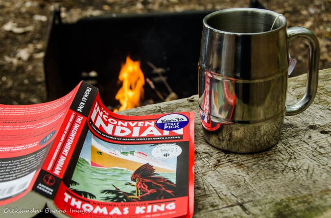 book, cup of tea and campfire