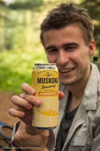 drinking Muskoka Brewery beer