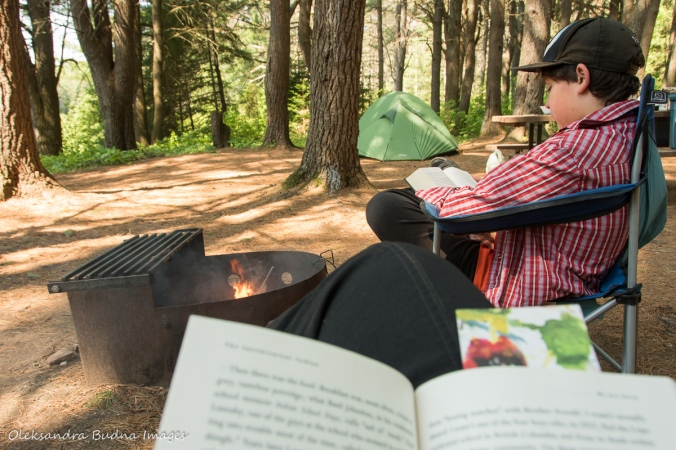 reading at the campground