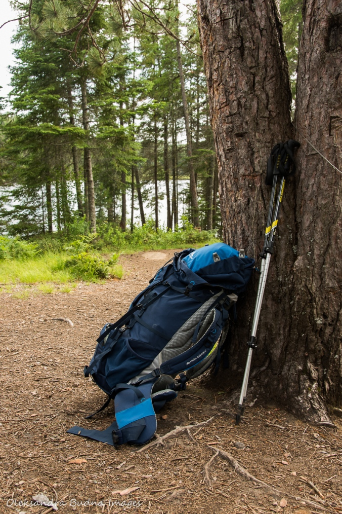 Backpack on teh Faya Lake campsite on Highlands trail in Algonquin