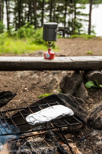 cooking dinner on Faya Lake campsite in Algonquin