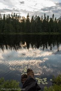 enjoying sunset on Faya Lake in Algonquin