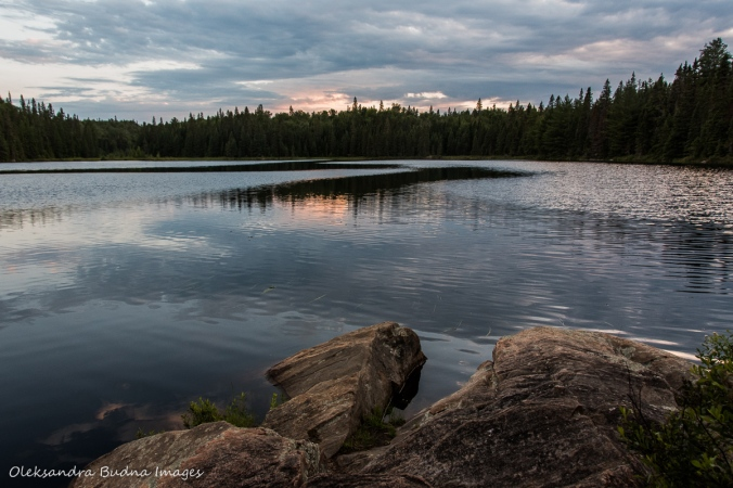 sunset over Faya Lake in Algonquin