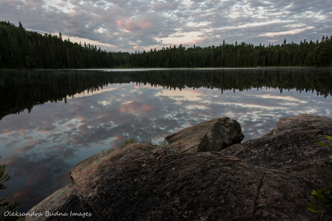 sunrise over Faya Lake in Algonquin