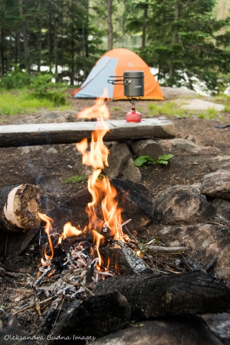 backcountry campsite on Faya Lake in Algonquin