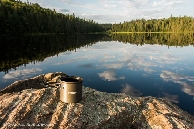 coffee by Faya Lake in Algonquin