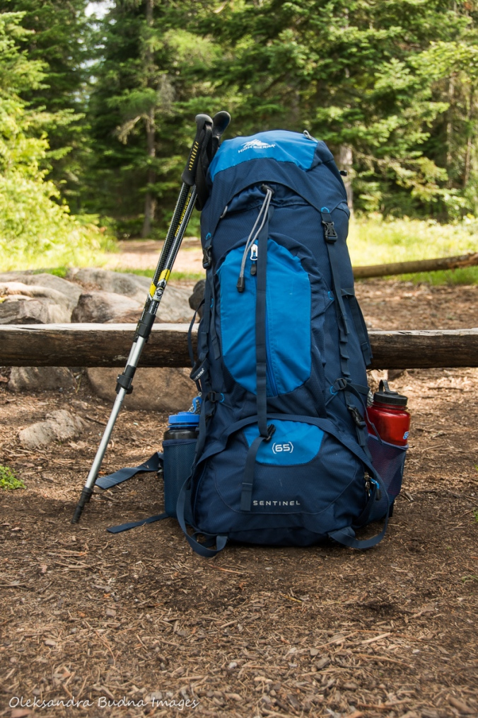 backpack and walkign poles