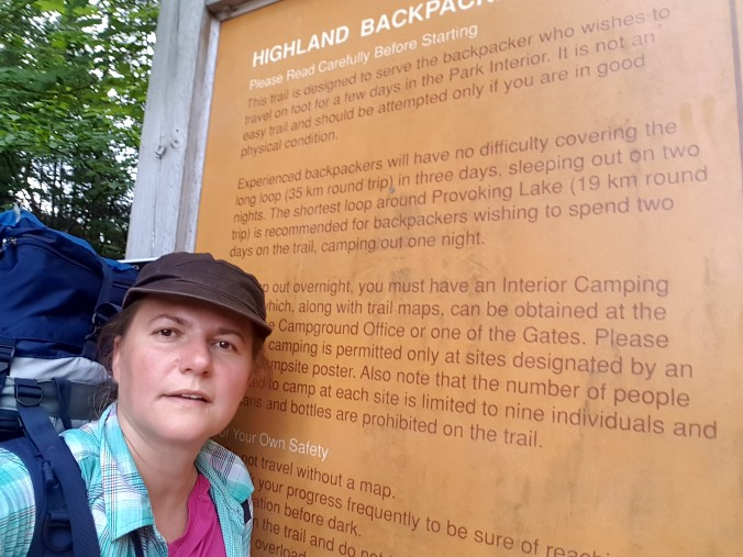 near the Highland Backpacking Trail sign in Algonquin