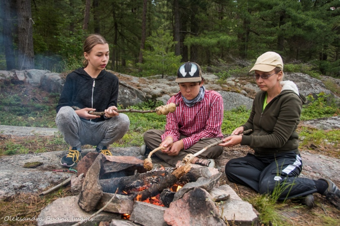 making bannock on a stick
