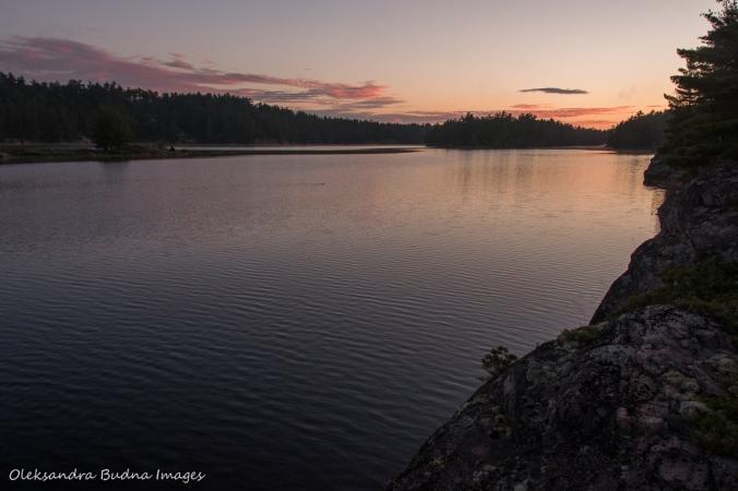 sunrise on Lyle Lake at Poitn Grondine