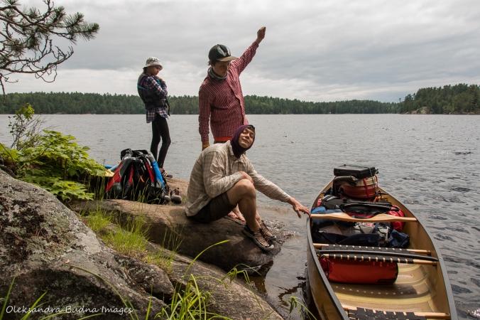 loading canoe at Mahzenazing Lake in Point Grondine Park