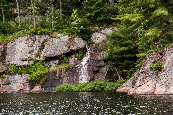 waterfall on Mahzenazing Lake at Point Grondine Park
