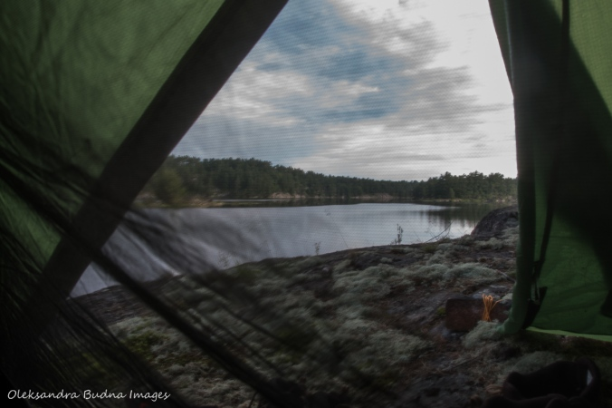 view from the tent at campsite C3 at Point Grondine Park