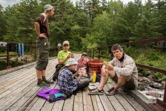 lunch break on a portage at Point Grondine Park