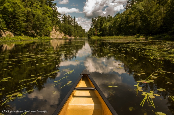 canoeing on Mahzenazing River at Point Grondine park