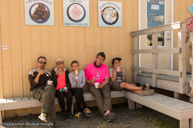 having ice-cream in Killarney village