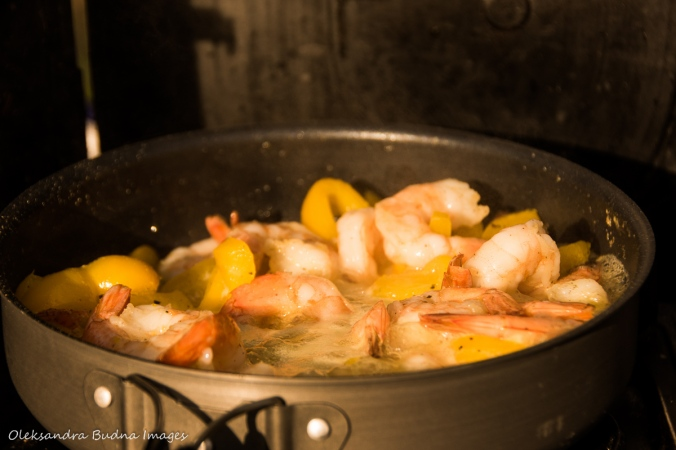 cooking shrimp during camping