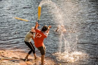 splashing with a paddle
