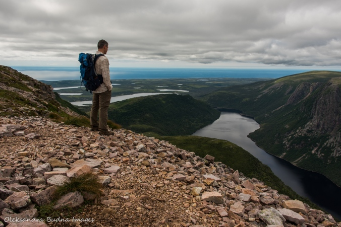 view over Ten Mile Pond from Gros Morne Mountain in newfoundland