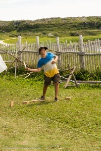 playing games at LÀnse aux Meadows National Historic Site in Newfoundland