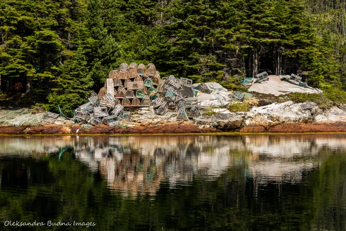 lobster traps on the shore