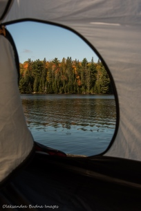 view from a tent on Joe Lake in Algonquin