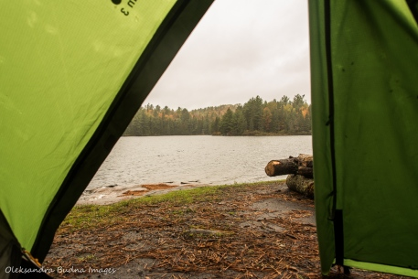 view fro the tent on Jeo Lake in Algonquin