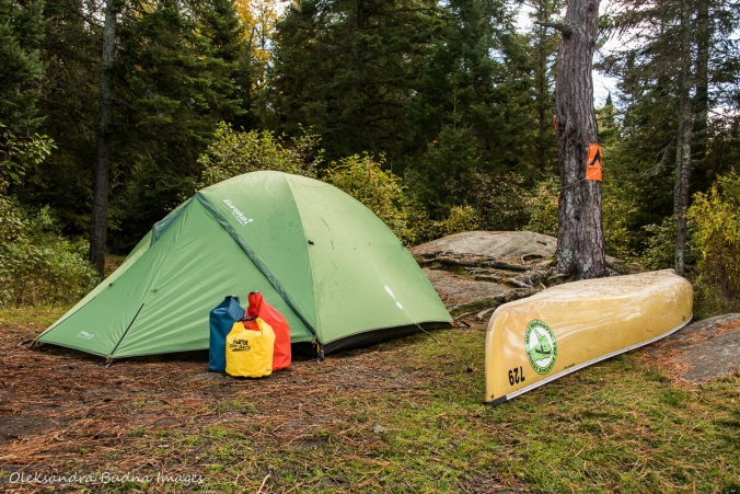 tent, canoe and wet bags on a backcountry campsite in Algonquin