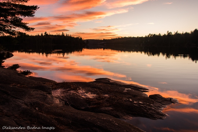 sunset on Joe Lake in Algonquin