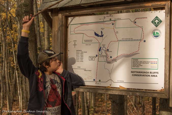 looking at the map at Nattawasaga Bluffs conservation area