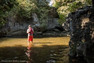 wading in Eramosa River at Rockwood