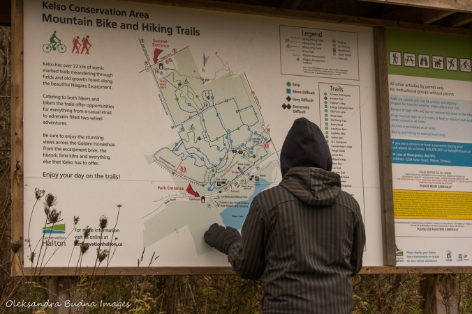 looking at the map at Kelso Conservation Area