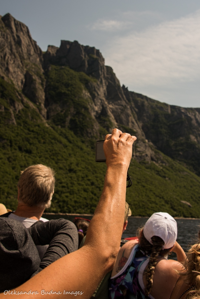people taking photos on Western Brook Pond boat tour