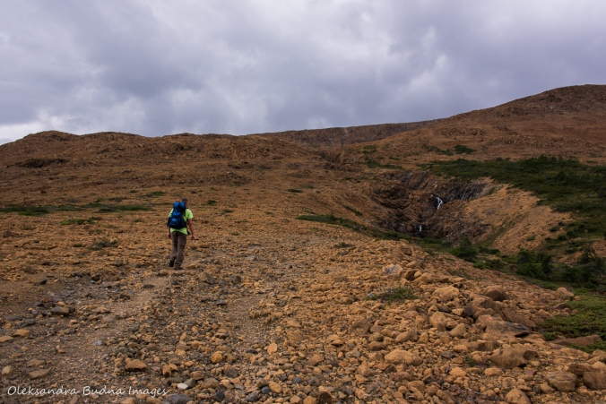 hiking up the Tablelands in Gros Morne, Newfoundland