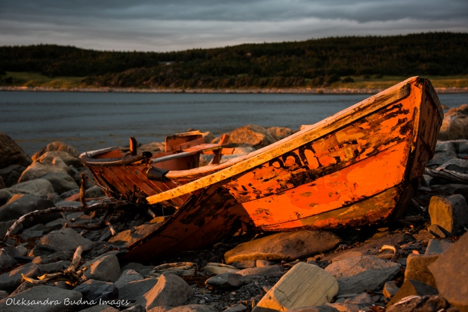 old boat in the light of the setting sun at the Lobster Cove head beach in Gros Morne, Newfoundland