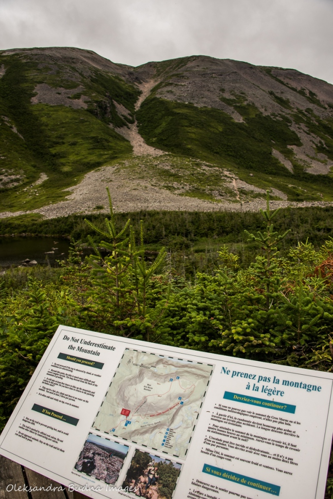 information panel at the foot of Gros Morne Mountain in Newfoundland
