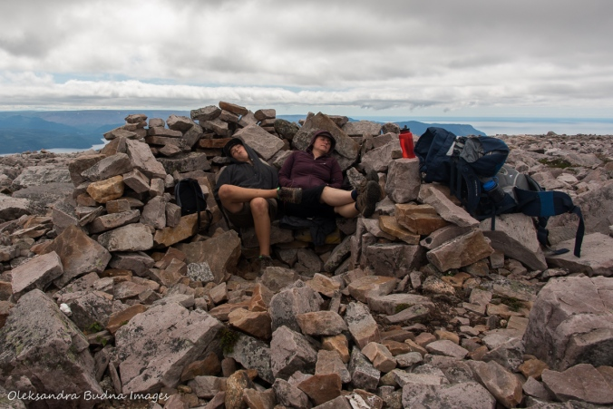 taking a break at the top of Gros Morne Mountain in Newfoundland