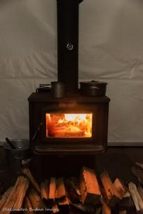 wood stove in yurt 5 in Silent Lake Provincial Park